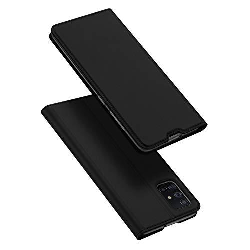 DUX DUCIS Hülle für Samsung Galaxy A71, Leder Flip Handyhülle Schutzhülle Tasche Hülle mit [Kartenfach] [Standfunktion] [Magnetverschluss] für Samsung Galaxy A71 (Schwarz)