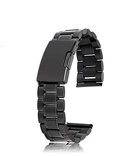 Bracelet de montre noir en acier inoxydable solide avec extrémité gauche et boucle à charnière 20 mm