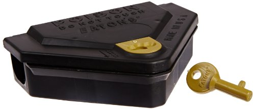 JT Eaton 907 Gold Key Mouse Depot Plastic Heavy Duty Tamper Resistant Mini Bait Station with Solid Lid, 3-11/16' Length x 5-1/4' Width x 1-7/16' Height (Case of 12)