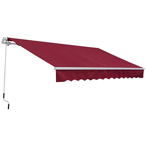 Outsunny 12' x 8.2' Outdoor Patio Manual Retractable Exterior Window Awning with Durable PU Design, Red