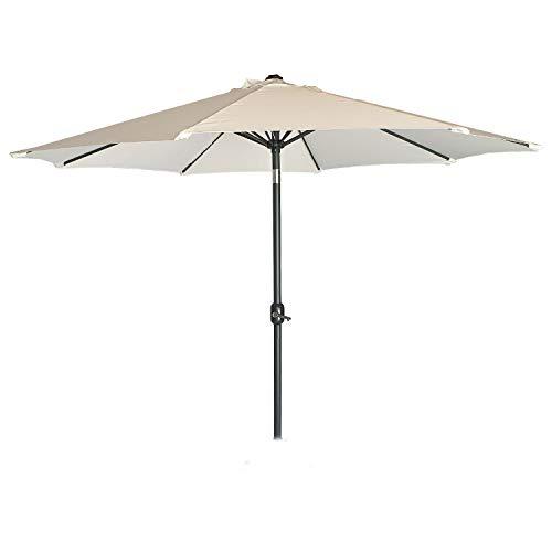 Parasol para jardín de Aluminio, Funda Protectora Color Gris incluida Mástil Central, Redondo 300 cm, Salida de Viento, Tela gramaje 200 gr Color Beige
