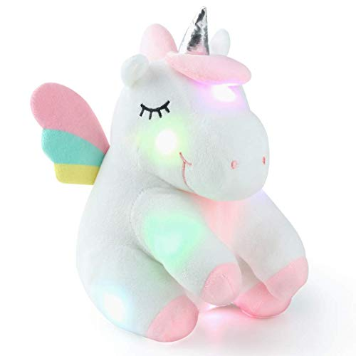 Unicorn Gifts Stuffed Animal Light up Plush for Girls, Unicorn Plush with Rainbow Wings for Baby Girls Kids for Christmas Birthday Battery Included - Minicorn