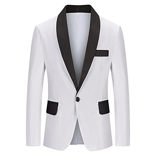 JERFER Veste Costume Homme Mince D'Affaires DéContraction Couleur Unique Un Bouton Luxe Formelle Mariage DîNer (Blanc,Medium)