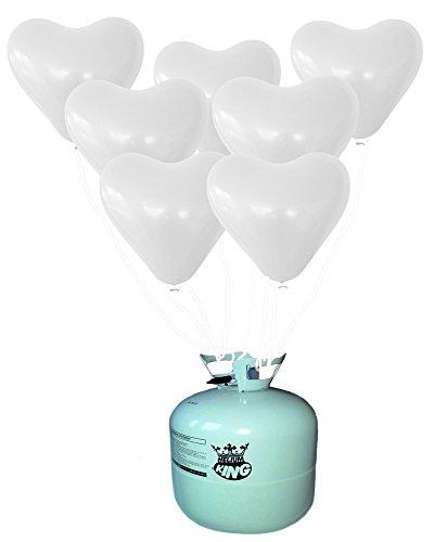 Prezer 25 weiße Herzen Luftballons mit Ballongas Ballon Helium Heliumfüllung