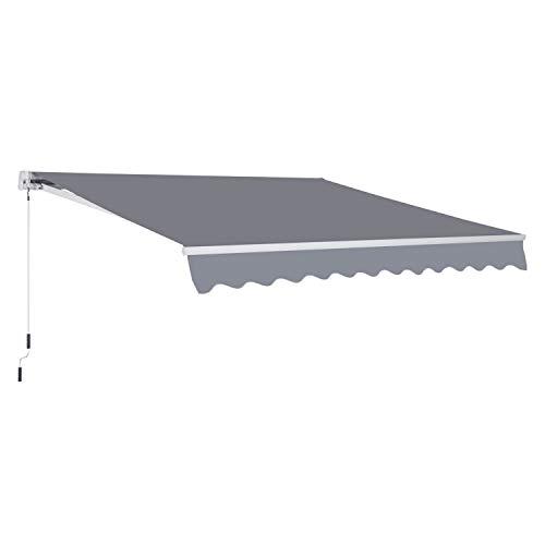 Outsunny Markise Gelenkarmmarkise Sonnenschutz Balkon Grau 3x2,5m
