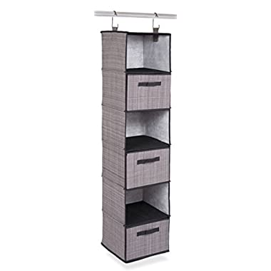 Internet's Best Hanging Closet Organizer with Drawers | 6 Shelf | 3 Drawers | Clothing Sweaters Shoes Accessories Storage | Grey