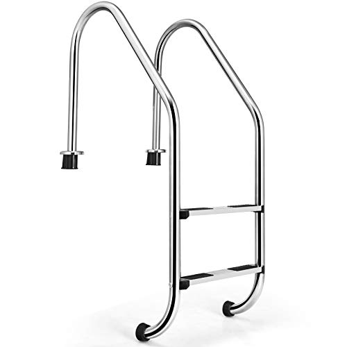 Goplus Swimming Pool Ladder, Inground 2-Step Non-Slip Ladder, Stainless Steel Ladder w/ 440 Weight Capacity