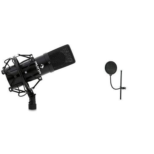 Auna MIC-900B USB Kondensator Mikrofon für Studio-Aufnahmen inkl. Spinne (16mm Kapsel, Nierencharakteristik, 320Hz - 18KHz) schwarz + König & Meyer 23956-000-55 Popkiller schwarz Bundle