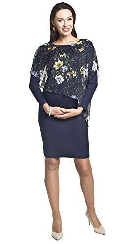 Torelle Maternity Wear Stillkleid elegant Umstandskleid, Modell: Amira, Langarm, dunkelblau, L