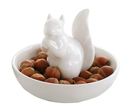 LA JOLIE MUSE Nut Bowl Snack Serving Dish - Ceramic Squirrel Stand Candy Dish for Pistachio, Peanuts, Edamame