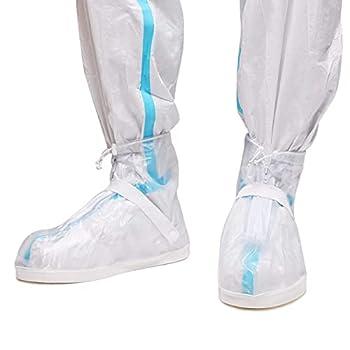 Life-C Rain Boot Waterproof Shoes Cover Women Men Kids Reusable Rubber Sole Overshoes Galoshes 1 Pair  Transparent,4XL