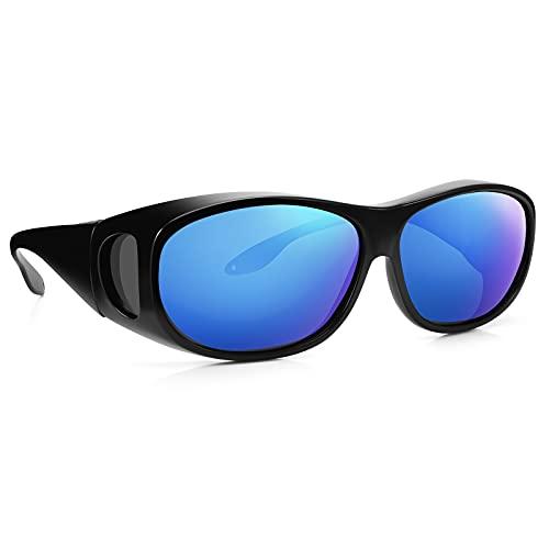 Br'Guras メガネの上から掛ける オーバーグラス 偏光 サングラス 偏光レンズ UV400 紫外線カット TR90 超軽量 オシャレ 運転サングラス ドライブ 釣り メンズ レディース (黒フレーム&青ミラーレンズ)