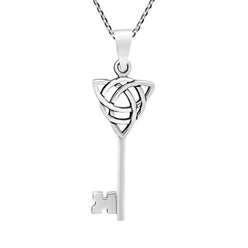 Regal Celtic Trinity Knot Key .925 Sterling Silver Pendant Necklace