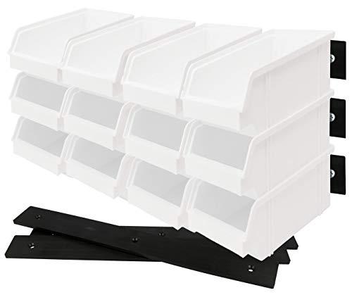 Lantelme 18 Stück Stapelbox mit Wandhalterung stapelbar weiß Kunststoff Sichtlagerkasten Deutsche Herstellung 6619