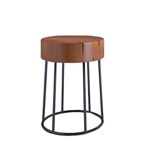 Ronde salontafel massief houten oppervlak, metalen beugel, eenvoudige kleine tafel kan worden gebruikt als nachtkastje zijtafel lage kruk