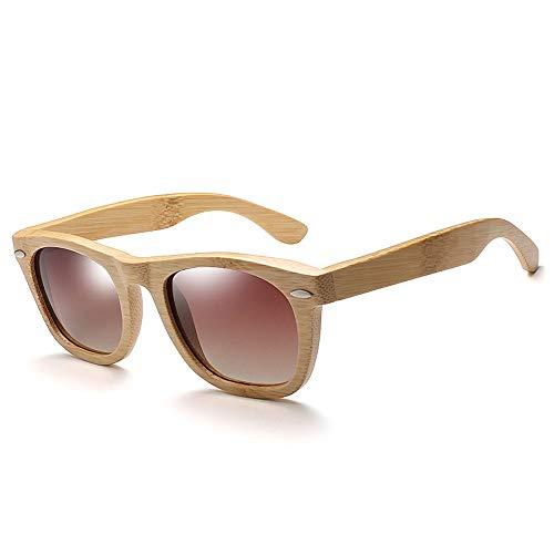Sunglass Fashion Polarized Rivet Men Full Bamboo Sunglasses Gafas de Sol de Madera Moda Mujer Gafas de Sol (Color : Green, Size : Free)