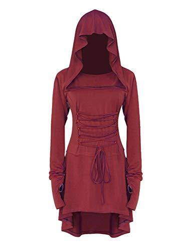 LATH.PIN - Disfraz de mujer para cosplay de Halloween, carnaval, fiesta medieval vintage, vestido asimétrico elástico, manga larga rojo XXL