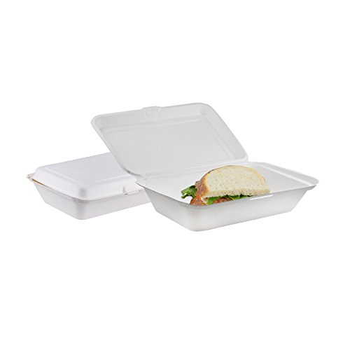 Houseables Take Out Food Containers, Takeout Clamshell Container, 100 Pack, White, 6X9 Inch,100% Disposable, Food Boxes to Go, Biodegradable Box, Restaurant Supplies, Microwavable