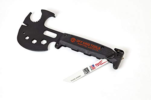 Off Grid Tools Pro Survival Axe Elite - Black, All Steel, Ultimate Outdoor Multipurpose Tool, Made in USA, Hatchet Blade, Hammer Head & Claw, Changeable Saw, Steel Glass Breaker, Seat Belt Cutter