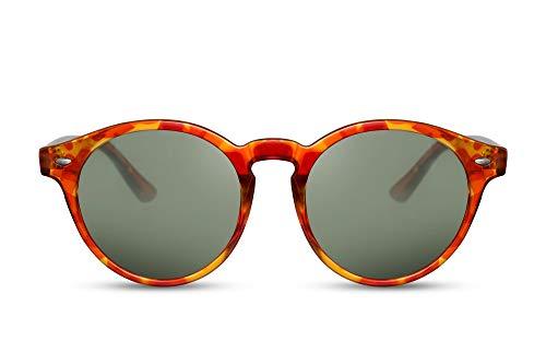 Cheapass Gafas de sol Redondas Moda Rojo Amarillo Estampado Leopardo UV400