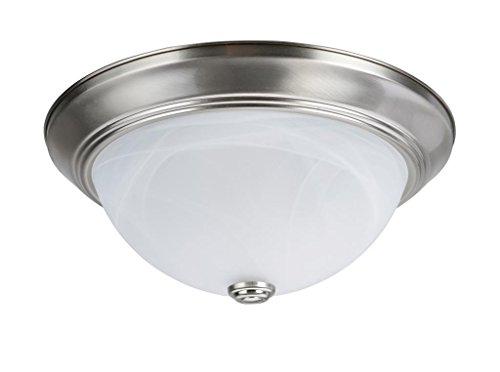 """Aspen Creative 63014-1 Two-Light Flush 13"""" DIAMETER Brushed Nickel"""