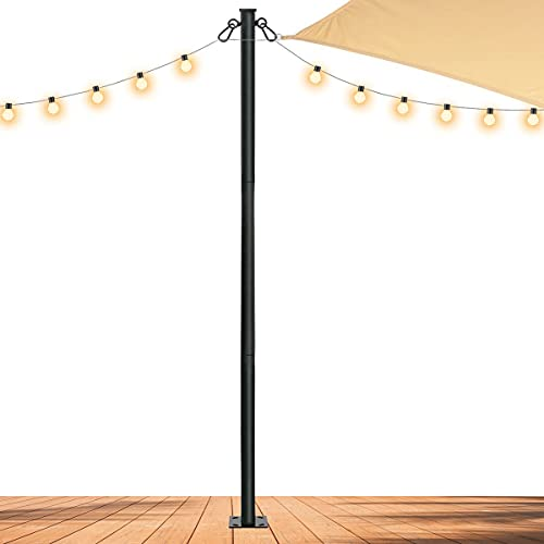 Slsy Outdoor String Light Pole Stand 8/10 FT, Awning Canopy Support Pole for Concrete Deck, Backyard Outdoor Shade Sail or Lights Stand Pole Mount to Wood Deck, Concrete, Patio.