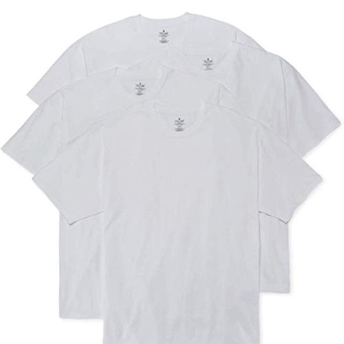 Stafford Men's Pack of 2 Crew Neck Shirts White (Large, Heavyweight 100% Cotton)