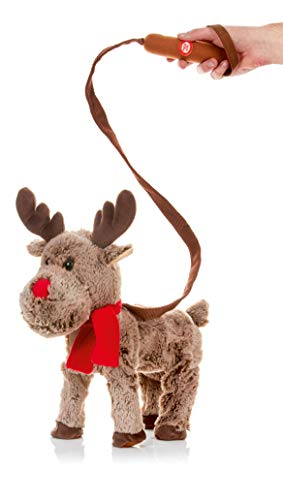 Premier Decorations Xmas Musical singing Walking Animated Plush 39cm Reindeer on lead Character