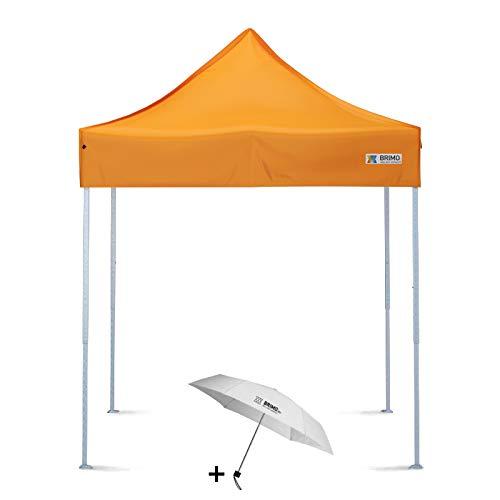 BRIMO Faltpavillon + Freier Regenschirm (2x2m, Orange)