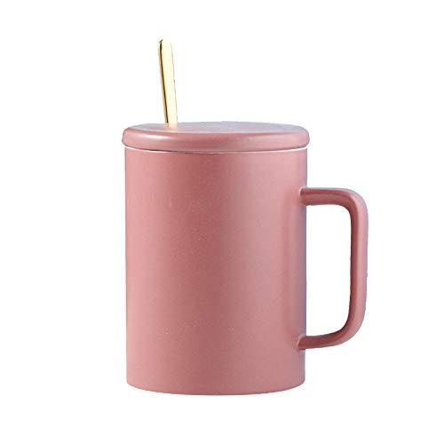 Heliansheng Taza de cerámica Simple con Tapa y Cuchara Taza de Agua Creativa para el hogar Taza de café -D008-301-400ml-G672