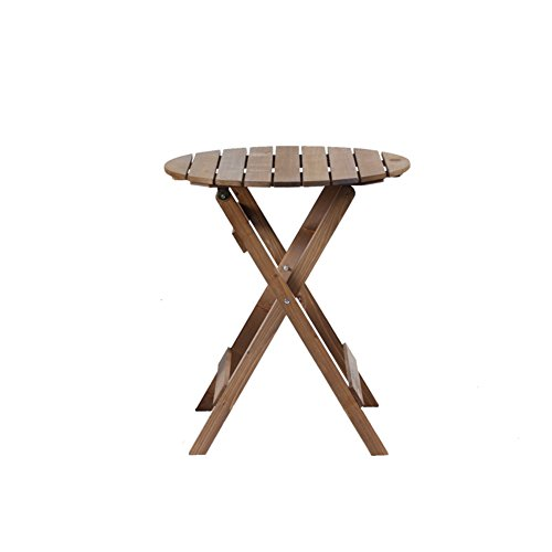 CSQ Table pliante en bois massif et chaise 3 pièces, Table Balcon Jardin Cour extérieure Loisirs Café Facile à transporter | Marron clair Table de thé (taille : One Round table)