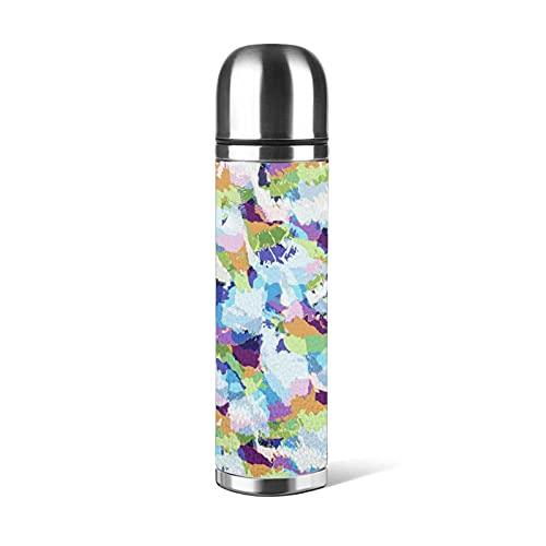 Botella de agua reutilizable de 500 ml, diseño de playa de camuflaje, botellas de acero inoxidable, a prueba de fugas, aisladas al vacío, doble pared, mantener 24 horas frías, 12 horas calientes