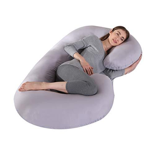 KINGSON Almohada Embarazada Dormir en Forma de C,Multifuncional Embarazo Almohada de Cuerpo Completo Mejorar Sueño con Funda Extraíble y Lavable (C Forma-Gris)