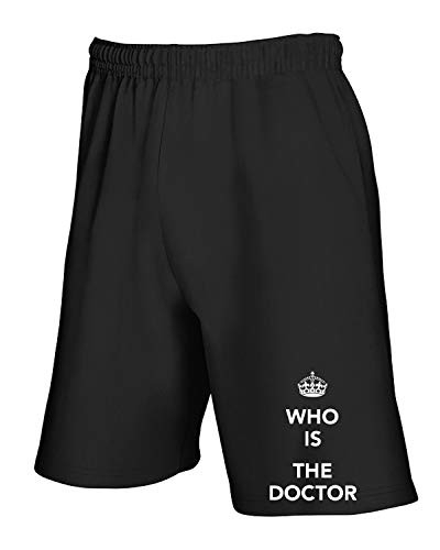 Jogginghose Shorts Schwarz TKC4188 Keep Calm and WHO is The Doctor