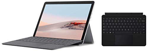 Microsoft Surface GO 2 STQ-00013 10.1-inch Laptop (Gold Processor 4425Y/8GB/128GB SSD/Windows 10 Home in S Mode/Intel UHD 615 Graphics), Platinum+Microsoft New Surface Go Typecover-Black