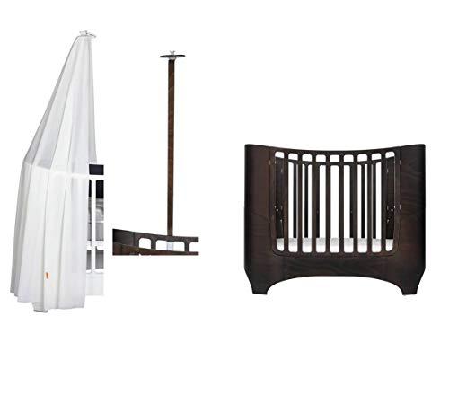 Leander Baby- und Kinderbett - walnuss + Himmelgestell in walnuss + Himmel in weiß