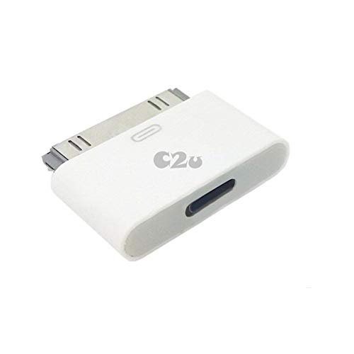 CLICK2U Converter Adapter Female to 30 Pin Male Adapter Converter for Cable Charge, Data SYNC And No Audio -White