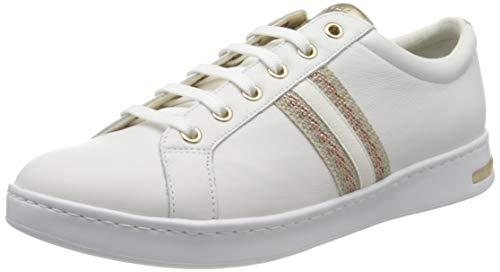 Geox D Jaysen A, Scarpe da Ginnastica Basse Donna, Bianco (White/Rose Gold C1Zh8), 37 EU