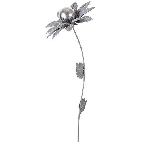 CIM Gartenstecker Beton - Blume Mirror Narzisse S - Abmessung: 18x18,5x91cm - Gartendekoration inklusive polierter Edelstahlkugel - attraktive Gartendeko – Gartenstab - Beetstecker