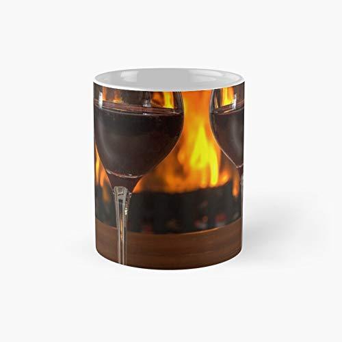 Taza clásica de vino tinto por chimenea   El mejor regalo divertidas tazas de café de 11 onzas