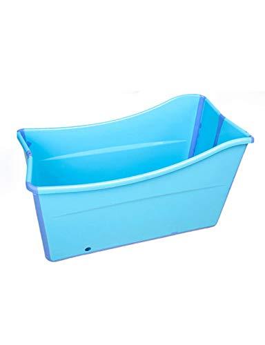 Gweat Kinder Portable faltende Badewannen-Swimmingpool-große freistehende Eckbadewanne Bad-Eimer für Erwachsen- / Ältesten-Badekurort-Erhöhung, Lange Isolierzeit mit Abdeckung (Rosa/Blau)