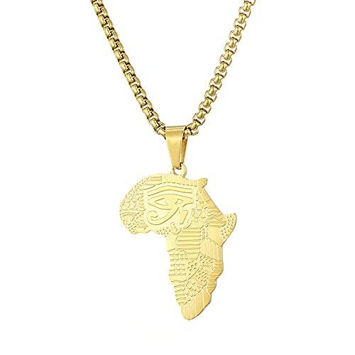 Yu Liao Collar con Colgante de Mapa de África Personalizado, joyería de Oro de Acero Inoxidable, Texto Personalizado, Encanto de Rapero de Hip Hop de África Grande para Mujeres y Hombres