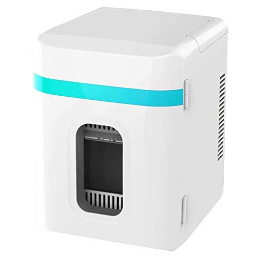 Mini Nevera, Enfriador y Calentador de 10 L con AlimentacióN de AC/DC, Puerta de SuccióN MagnéTica, con Manija PortáTil, Revestimiento de ParticióN de 3 Capas Completamente Sellado