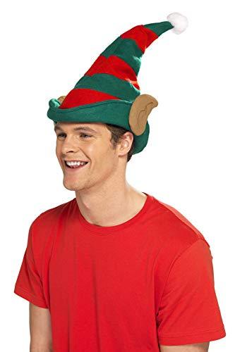 Smiffys Unisex Elfen Hut mit Ohren, One Size, Grün und Rot, 21469