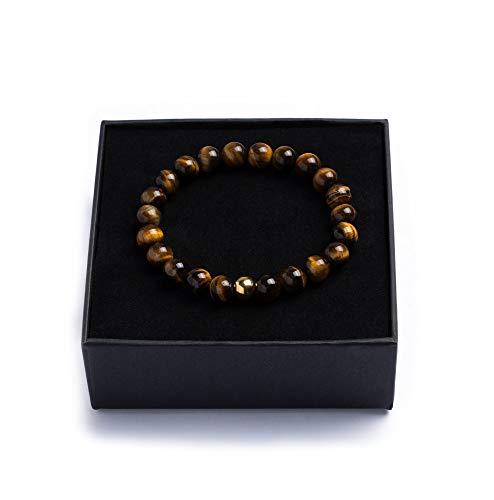 Alton of Sweden   Perlenarmband für Männer   Braun Armband Herren mit Edelsteinen & Edelstahl Perle   Tigerauge   Schmuckschachtel und Samtbeutel   Tolle Geschenkidee   Handgemacht