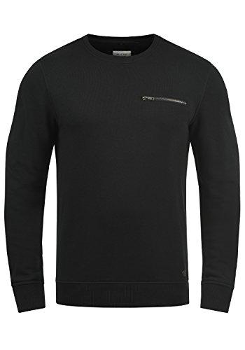 Blend Jesper Herren Sweatshirt Pullover Pulli Mit Rundhalsausschnitt Und Brusttasche, Größe:L, Farbe:Black (70155)