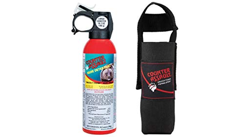 Counter Assault - EPA Certified, Maximum Strength & Distance Bear Repellent Spray - Hottest Formula Allowed by Law - Night Glow Locator & Tactical Holster Included (8.1 oz)