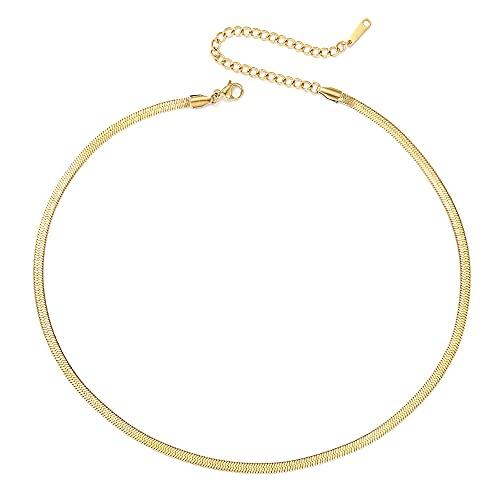 BONNYBIRD® Schlangenkette Gold - Kette ohne Anhänger Gold, Schlangenkette Flach, Kette Schlange Edelstahl, Goldkette Schlangenkette