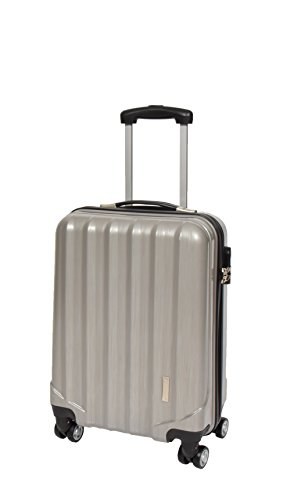 4 Wheels Cabin Size Hand Luggage Built-in Lock Strong Hard Shell Suitcase Travel Bag A403 Silver