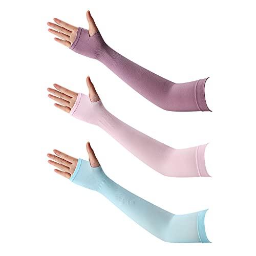 Mangas de Brazo,3 pares de Protección UV Mangas de Enfriamiento de Brazo Manga de Brazo Mujer ...